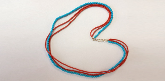 custom necklace. sleeping Beauty Turquoise natural Red Coral