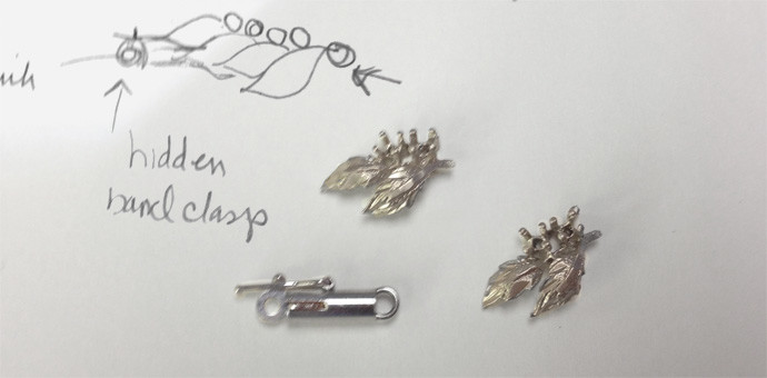 Sketch of the clasp and new parts to be added to necklace (repurposed jewelry)