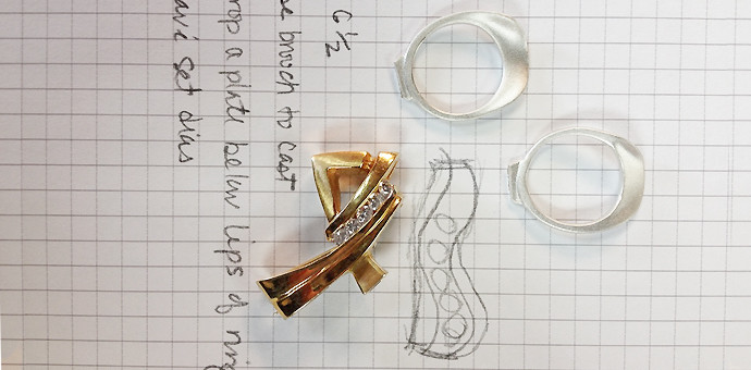 Design, gold brooch, and silver sketch parts for reporposing pin to brooch