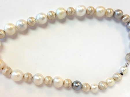 silver brushed beads south sea pearl necklace