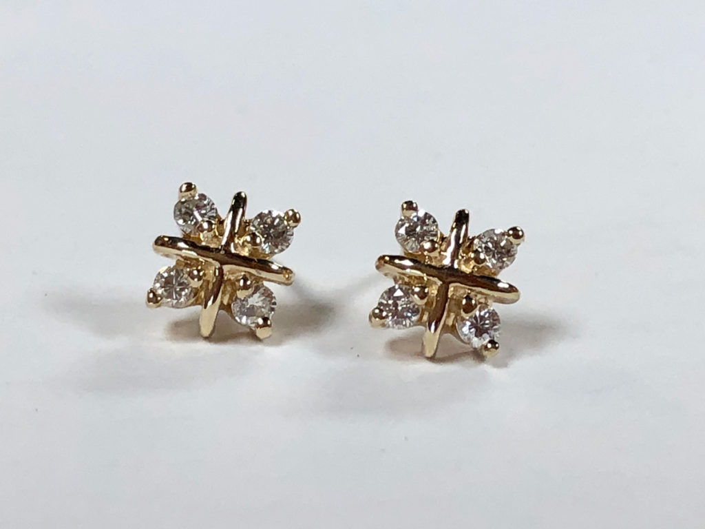 post earrings with eight full-cut diamonds