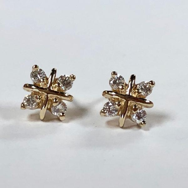 post earrings with eight full-cut diamonds