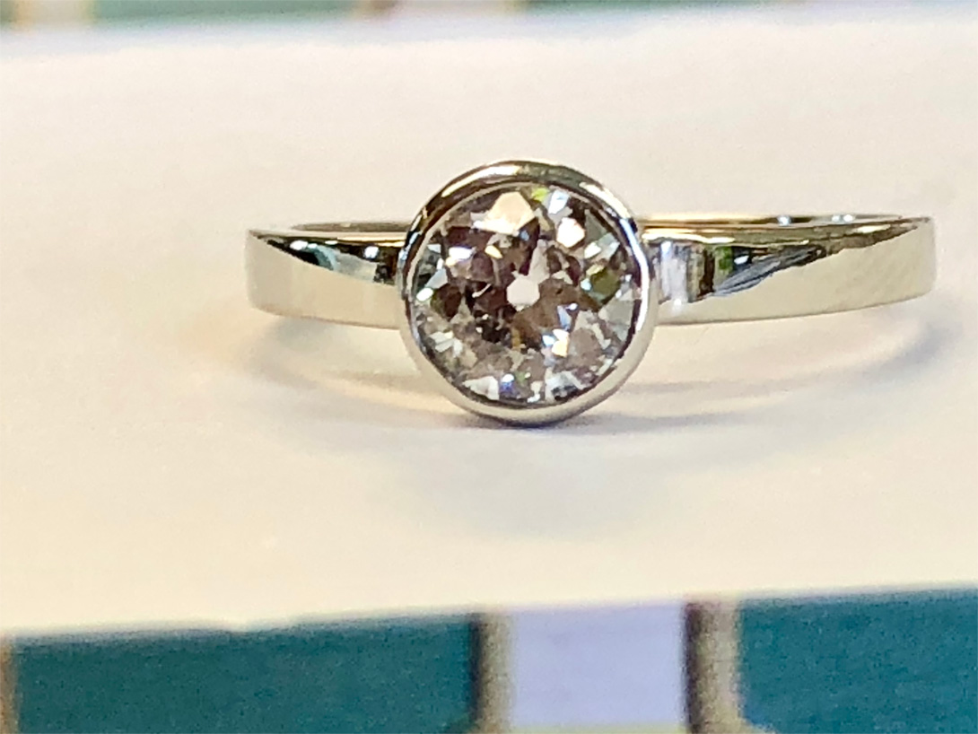 old mine diamond ring in new bezel (finished!)