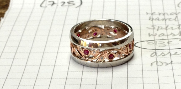 final product, redesigned 45th wedding anniversary ring with rubies and diamonds