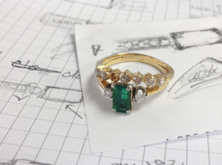 Before picture - this ring was in need of repair after 30 years of marriage