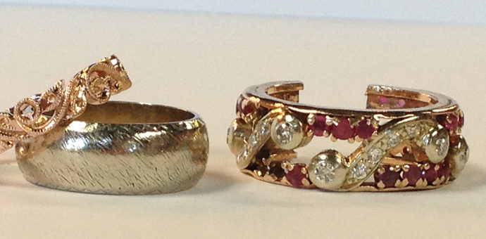 on left new ring parts and white gold band, on right the ruby anniversary ring before redesign