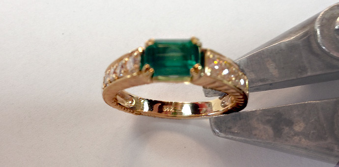 top / side view of newly repurposed emerald ring