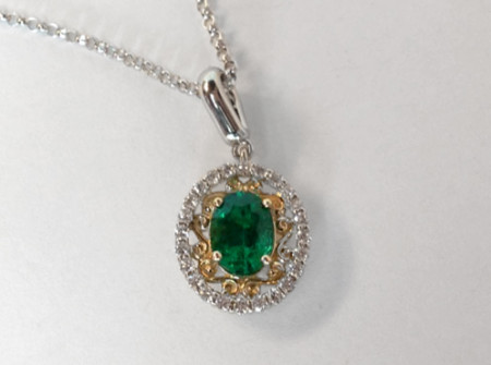 certified emerald necklace, 14 k white and yellow gold wotj accent diamonds