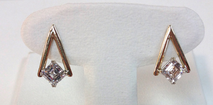 asscher cut diamond post earrings