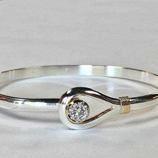 bangle bracelet with diamond cluster and hook clasp