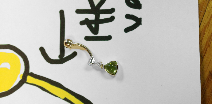 belly ring with green stone and no diamond