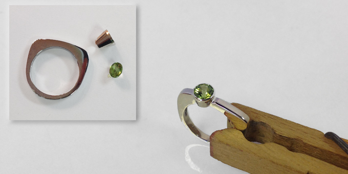 Peridot ring. Also the parts to make it.