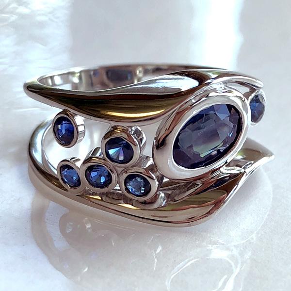 Blue Sapphire Bubble Wave Ring