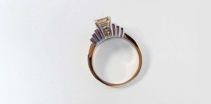 side view of stepped setting, champagne diamond ring