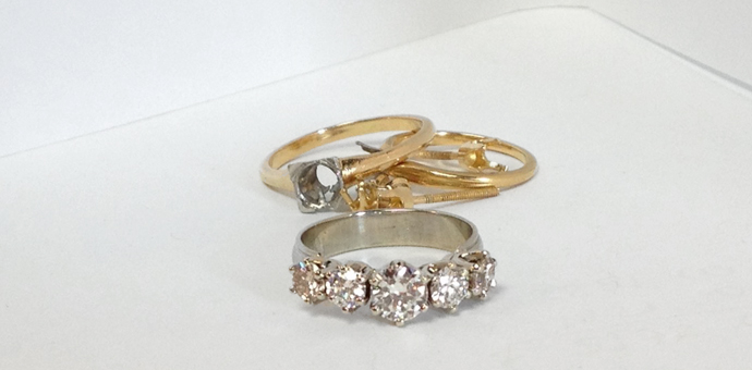 the new diamond ring made from old wedding jewelery.