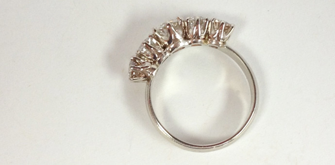 side view of redesigned ring form earrings, wedding rings, engagement rings