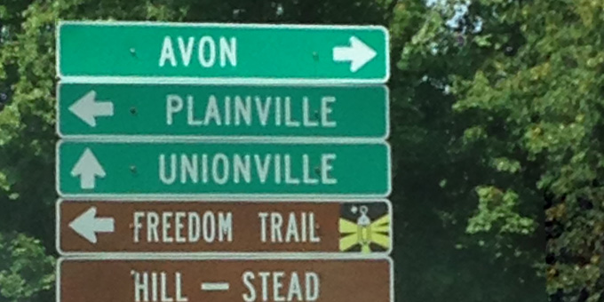 Road sign to Avon, CT