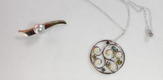 custom design pendant- pearls sapphires peridots topaz