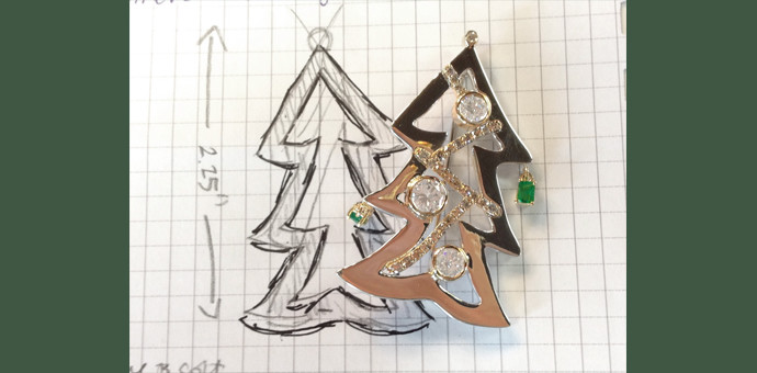 Plan and final result of custom brooch for pin collector