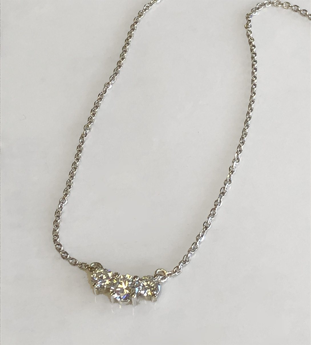 three diamond necklace on chain (finished)