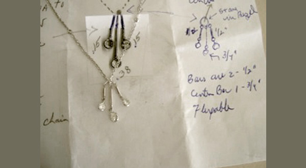 necklace is shown with drawing used for custom design