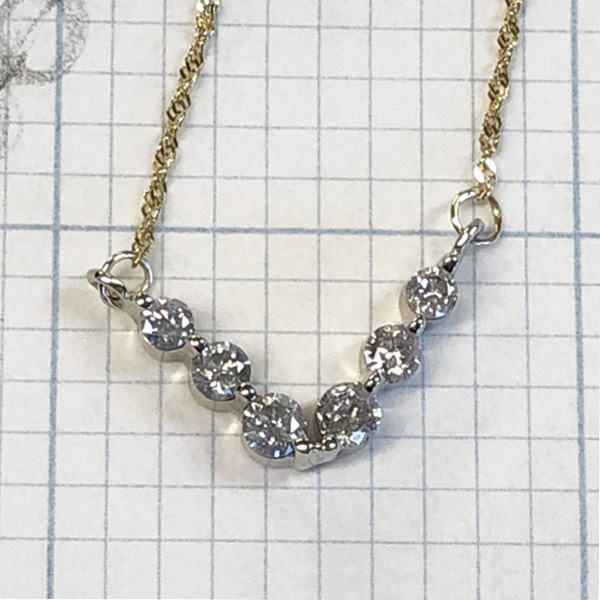 diamond chevron necklace made from earrings