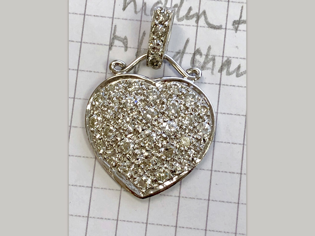 diamond heart pendant with bow and diamond bail