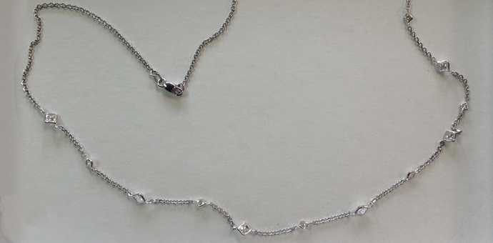 String of princess cut diamonds. A necklace fit for a princess.