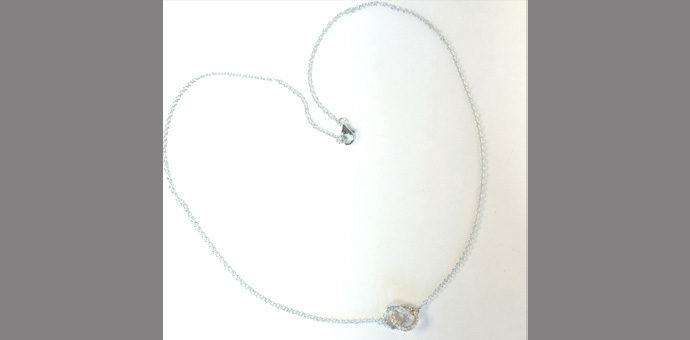 "double circle Elma Gil diamond necklace with white/rose gold 16"" chain available from my shop"