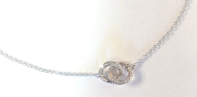 "double circle Elma Gil diamond necklace with white/rose gold 16"" chain"