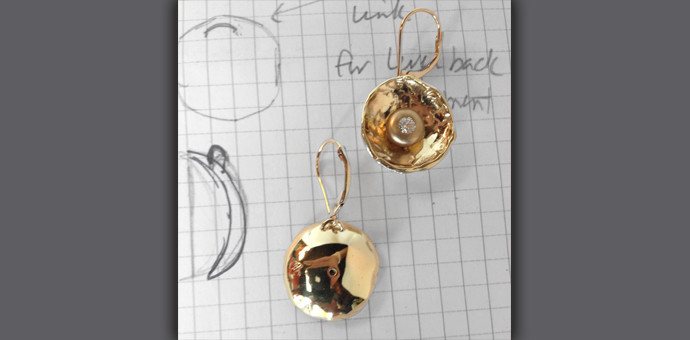 these gold and diamond earrings were made from her old bits of jewelry