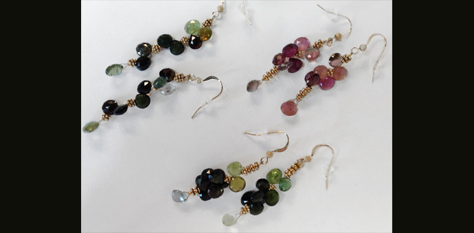 pretty tourmaline briollette earrings from broken necklace - redesign