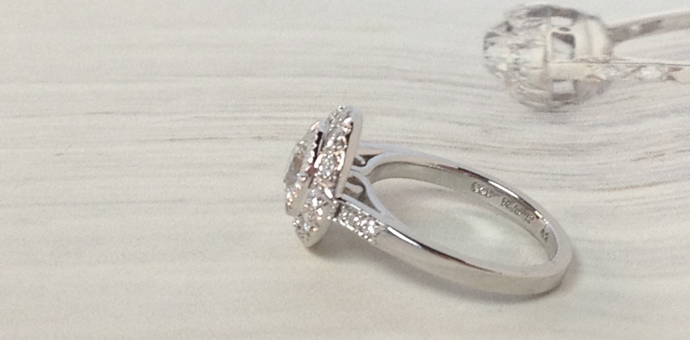 top view edwardian style engagement ring with platinum halo updated for a more contemporary look