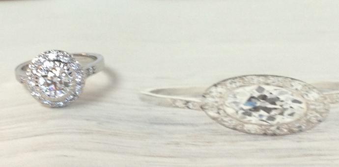 edwardian style engagement ring with platinum halo