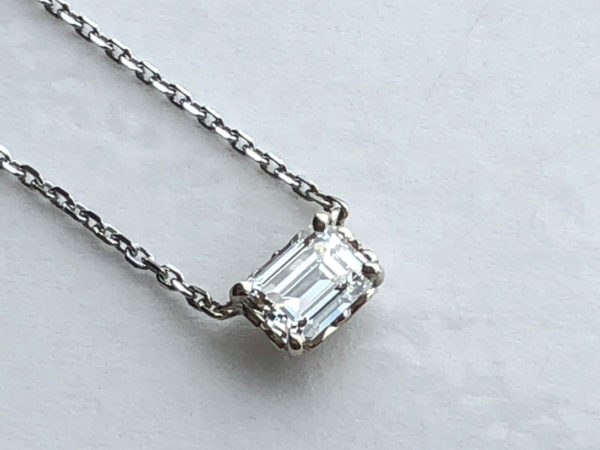 emerald cut diamond, 14k white gold solid faceted cable link necklace chain
