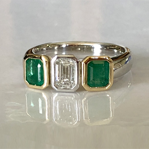 emerald emerald cut diamond emerald ring in yellow gold and platinum
