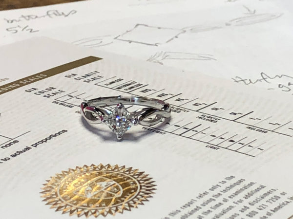 engagement ring with diamond certification