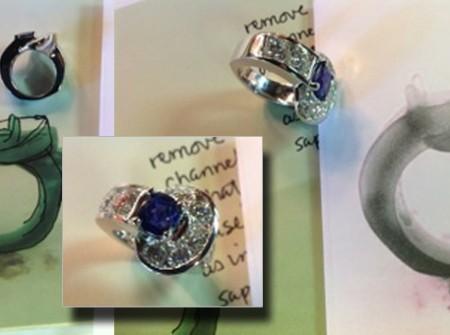 Sapphire ring amidst diamonds in circular setting. Design drawings too.