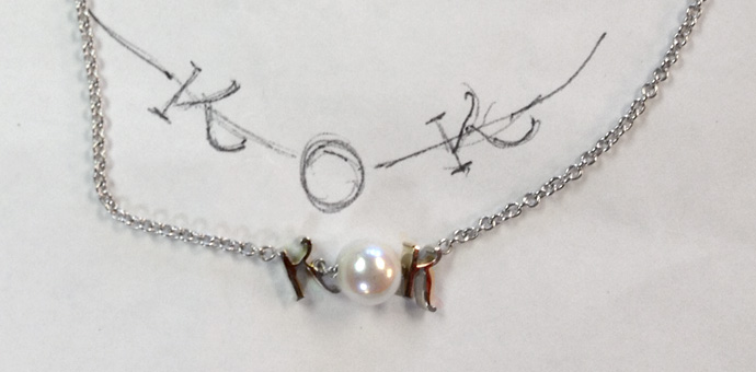 KOK necklace, the o is a pearl. Made from akoya pearls purchased on vacation