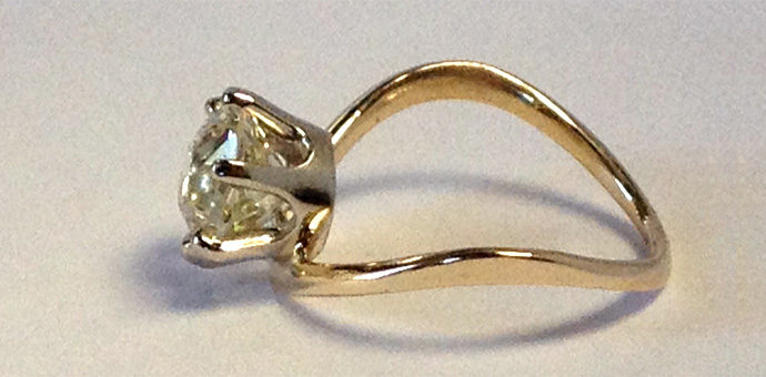 vintage family diamond replaced orginal stone - engagement ring