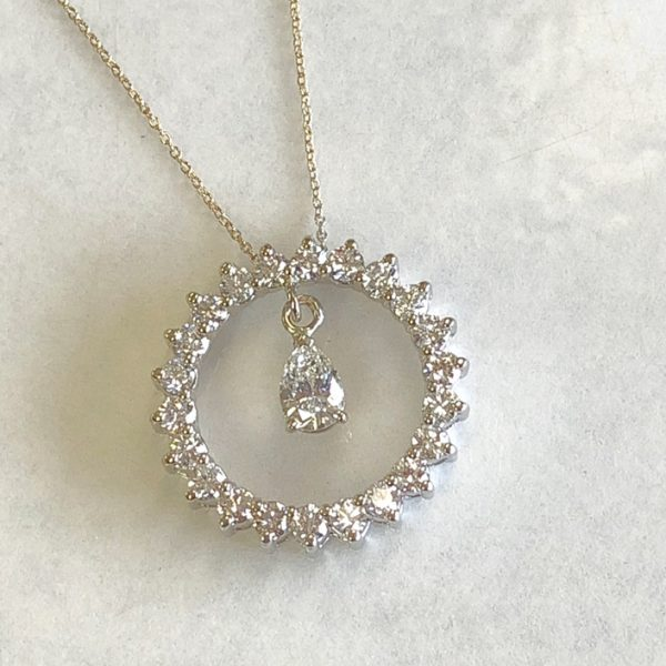 completed - pear diamond added to diamond eternity necklace