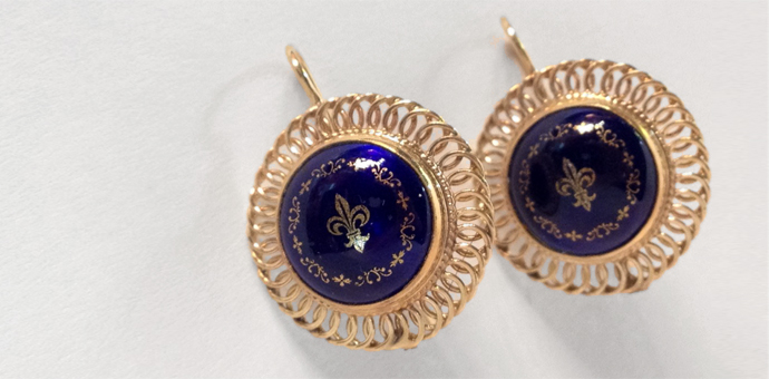 gold vintage fleur d' lis cobalt blue earrings