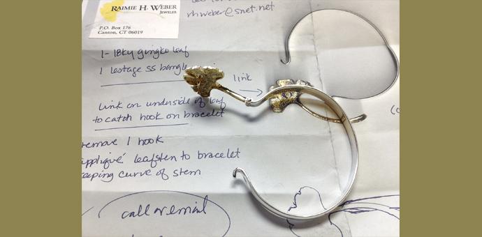 gingko bracelet shown on drawn plans for its making