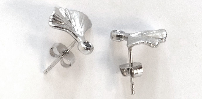 side view of gingko mini earrings