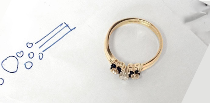one ring from two - gold Onyx ring and Diamond Ring (finished profile view)