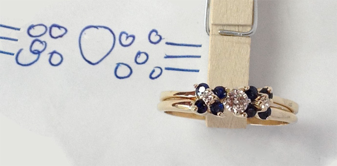 repurposed gold sapphire ring and Diamond Ring - finished