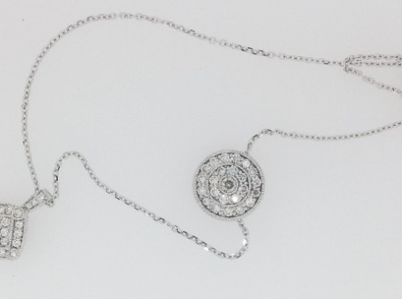 Necklaces with reused recycled repurposed diamonds