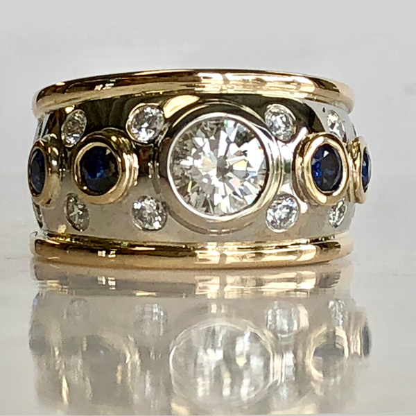 """Diamond and sapphire wide-band """"grown up"""" ring"""