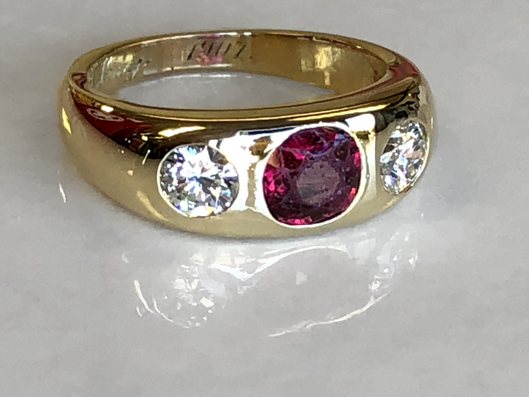 finished- removed diamonds replaced in heirloom ruby ring