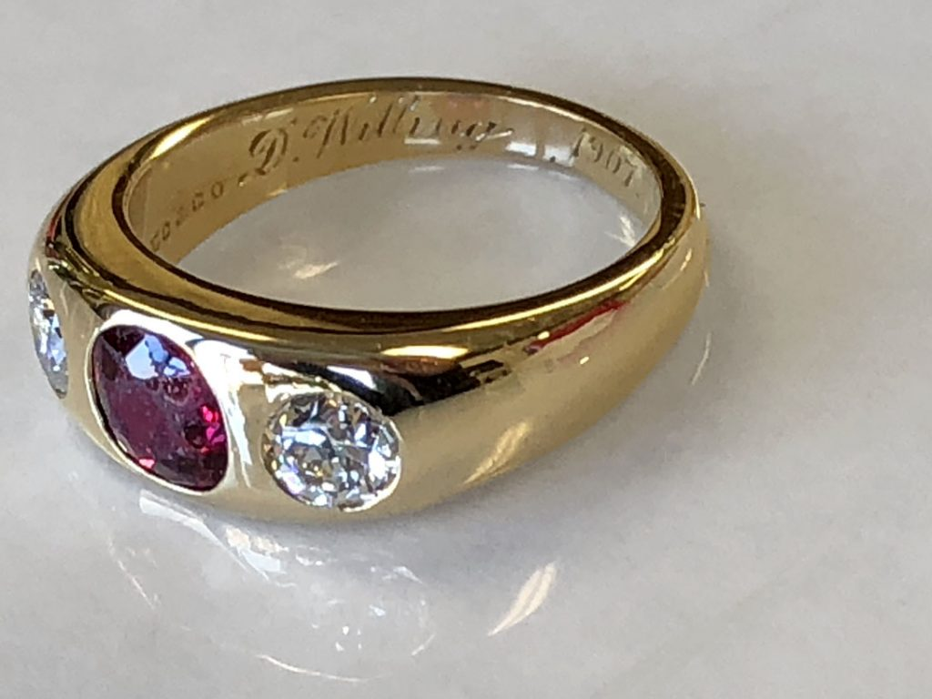 1907 inscription inside heirloom ring after repair